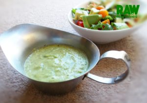 Raw Vegan Avocado Cucumber Dressing | Rawmunchies.org #RECIPE HERE: http://www.rawmunchies.org/recipes #Raw #vegan #rawvegan #saladdressing #cucumberdressing #dressing #avocado