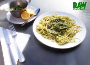 Raw Vegan Avocado Dill Pesto with Cucumber & Zucchini Noodles | Rawmunchies.org #RECIPE HERE: http://www.rawmunchies.org/recipes #Raw #vegan #rawvegan #glutenfree #rawvegannoodles #zucchininoodles #noodels #pesto #veganpesto #rawveganpesto